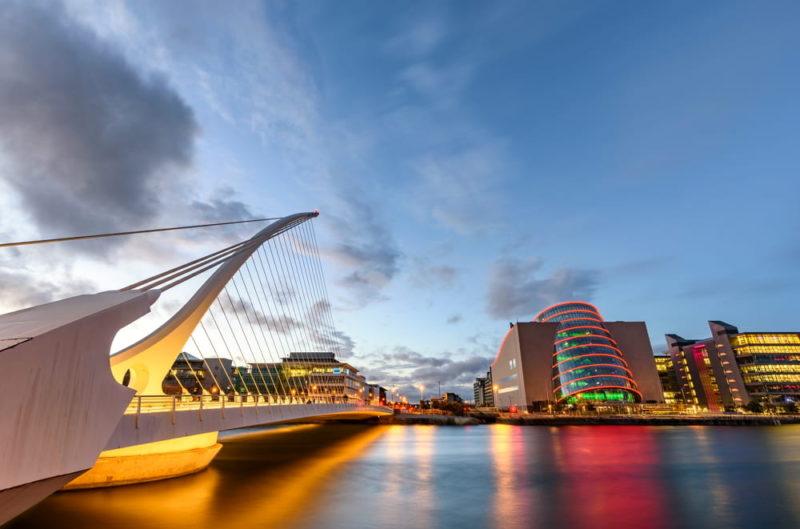 Barrel-shaped-Dublin-Convention-Center-and-Samuel-Beckett-Bridge
